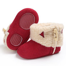 47f3007d98e Raise Young Plush Winter Warm Baby Girl Snow Boots Solid Soft Soles  Non-slip Toddler Boy Booties Newborn Infant Footwear 0-18M
