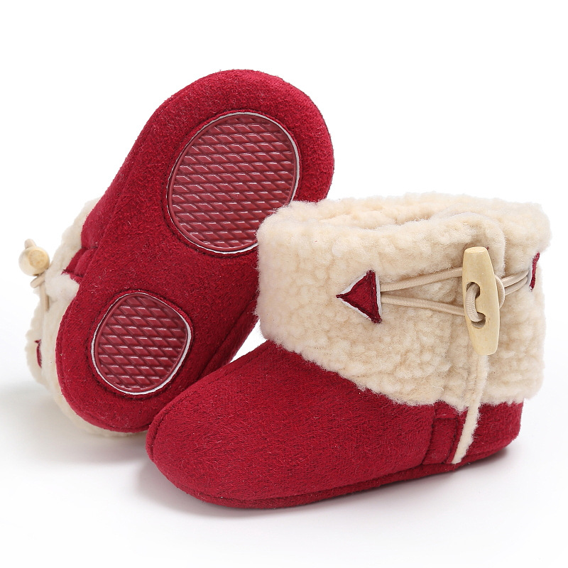Raise Young Plush Winter Warm Baby Girl Snow Boots Solid Soft Soles Non-slip Toddler Boy ...