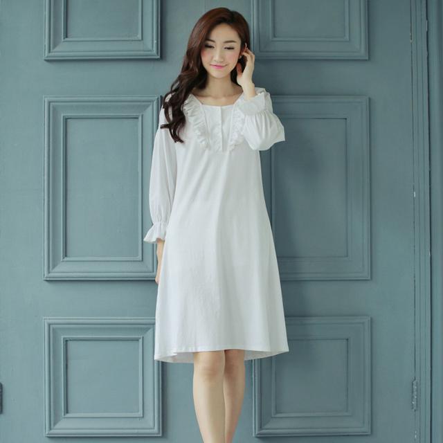 100% algodón de La Princesa del camisón de Las Mujeres Pijama Corte Otoño invierno ropa de Dormir En Casa Paño pijamas femininos verao señoras camisón