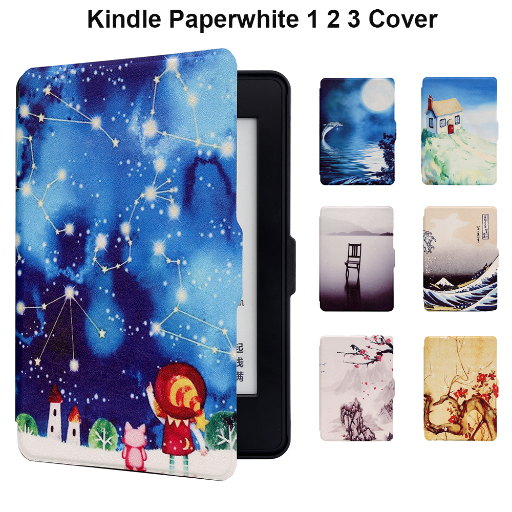 For Amazon Kindle Paperwhite 3 Case PU Leather Kindle Cover Hard Back Auto Wake Up/Sleeping Capa Gadget for 6 Paperwhite 1 2 protective pu leather case cover w auto sleep for amazon kindle paperwhite red