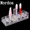Mordoa Multifunction 12 Slot Acrylic Nail Polish Lipstick Display Stand Rack Clear Cosmetic Organizer