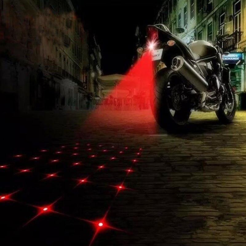 Bike Lights Universal LED Car Motorcycle Laser Fog Light Anti Collision Tail Lamp Bike Braking Parking Signal Warning Light
