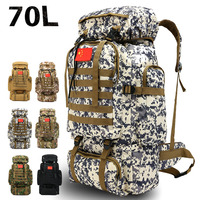70L Mountaineering Bag Outdoor Sports Camouflage Backpack Military Training Camping Hiking Luggage Backpack Tactical Rucksack