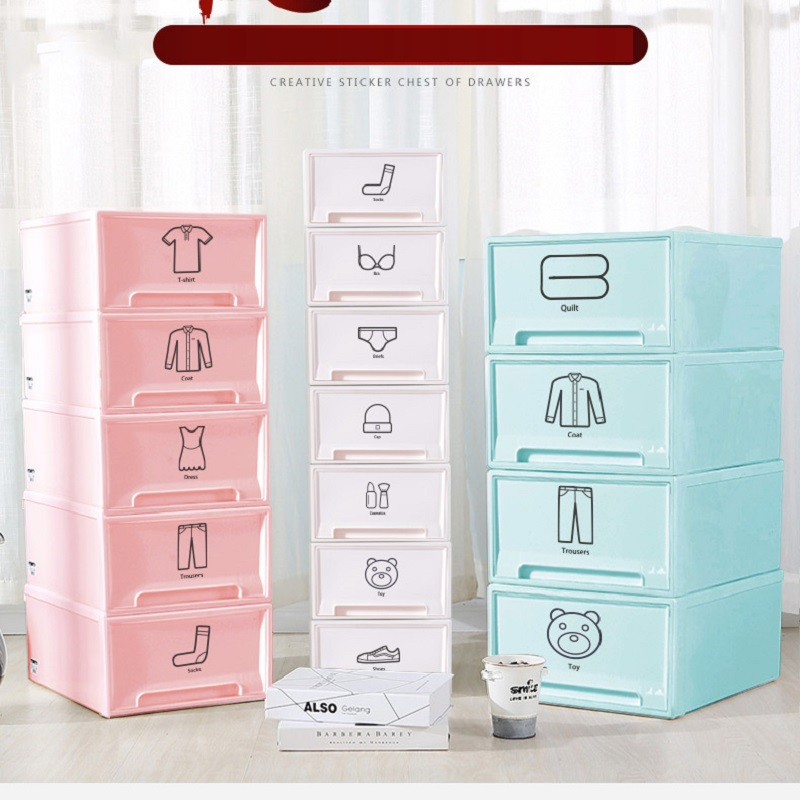 Multi-functional Underwear Storage Box Plastic Cartoon Storage Drawers Creative Fashion Superimposable Clothes Storage Tools