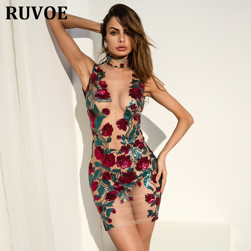 2018 New Arrival Floral Embroidery Sequin Mesh Mini Dresses Cocktail Party  Dress Women See Through O Neck Party Dress Vestidos