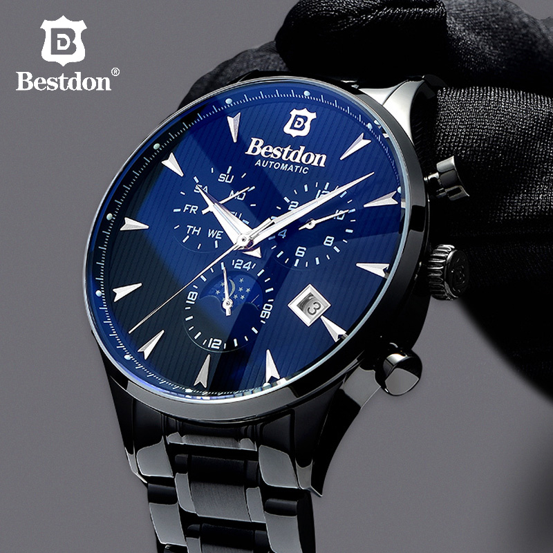 Bestdon Mechanical Watch Men Fashion Automatic Clock Man Daydate Moonphase Top Switzerland Brand Wristwatch Relogio Masculino