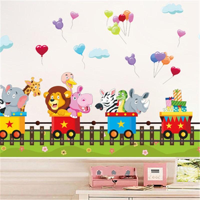 Cartoon Jungle Wild Animal Train Wall Stickers For Kids