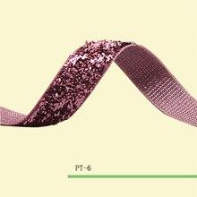 Stretch Bebé Rosa Metálico Cinta De Terciopelo Color de La Chispa Cinta 5/8 «Elástica Glitter Velvet Ribbon Precio Negociado