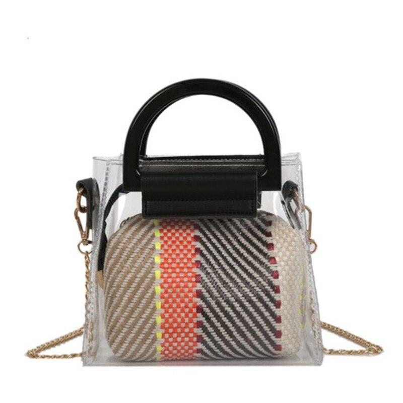bags for women 2018 Small Handbag Transparent Women Hand Bags Chain Straw bag Lady Travel Beach Shoulder Cross Body Bag Holiday