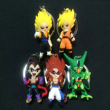 Dragon Ball Z 4 Silicone Keychain Dos Desenhos Animados Kawaii Anime Piccolo Daimao Super Saiyan Vegeta Goku Chaveiro Saco Chave Do Carro Titular presentes(China)