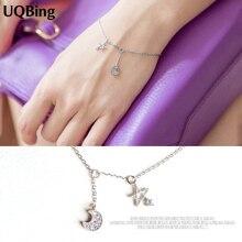 Free Shipping 925 Sterling Silver Bracelets Crystal Moon Star Charm Bracelets Jewelry pulseras de plata 925