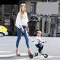 Marca Nuevos Carros de Bebé de Tres Cochecito infantil Plegable Portátil Ultra-ligero De Aluminio + PU Rueda Cochecito Bicicleta Niños deslizamiento Artefacto