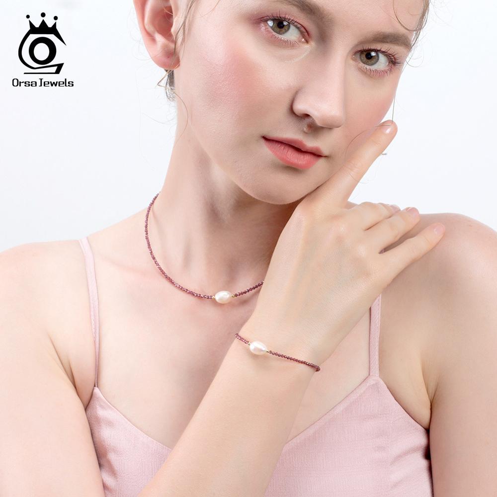 ORSA JEWELS 925 Silver Vintage Choker Women Necklace Natural Stone Garnet Small Beads Freshwater Pearl Choker Jewelry OSN157