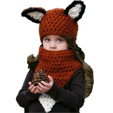 Fox Ear Baby Knitted Hats with Scarf Set Winter Windproof Kids Boys Girls Warm Shapka Caps for Children Beanies Caps shapka