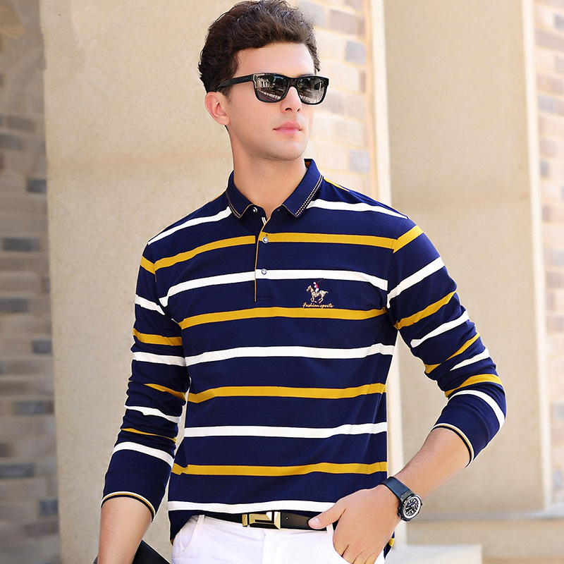 ICPANS 2019 New Spring   Polo   Shirt Men Long Sleeve Cotton Casual Striped   Polo   Shirts Men Slim Fit Top Tees Male Brand Clothing