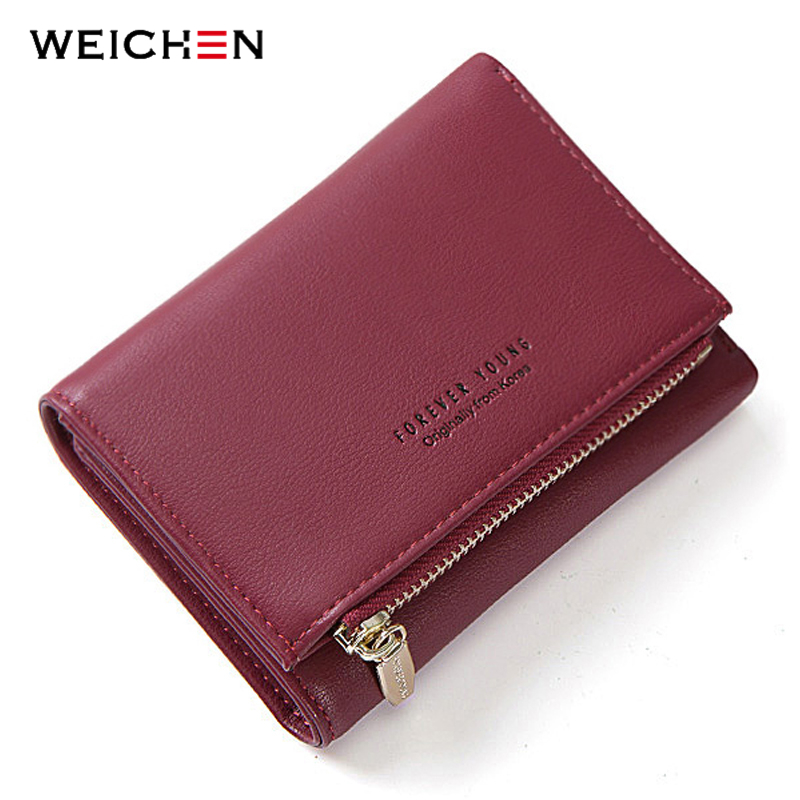 WEICHEN New Trifold Ladies Wallet With Zipper Coin Bag Card Holder Brand Designe