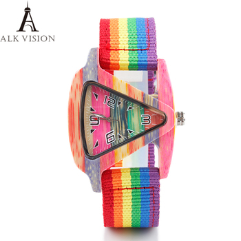 ALK pride rainbow Wooden Watch mens Women Bamboo wood wristwatch 2018 ladies wrist Watches triangle lady female quartz Clock analog wooden watch ladies full wood women s wristwatch creative female clock wrist bangle watches relogios femininos de pulso