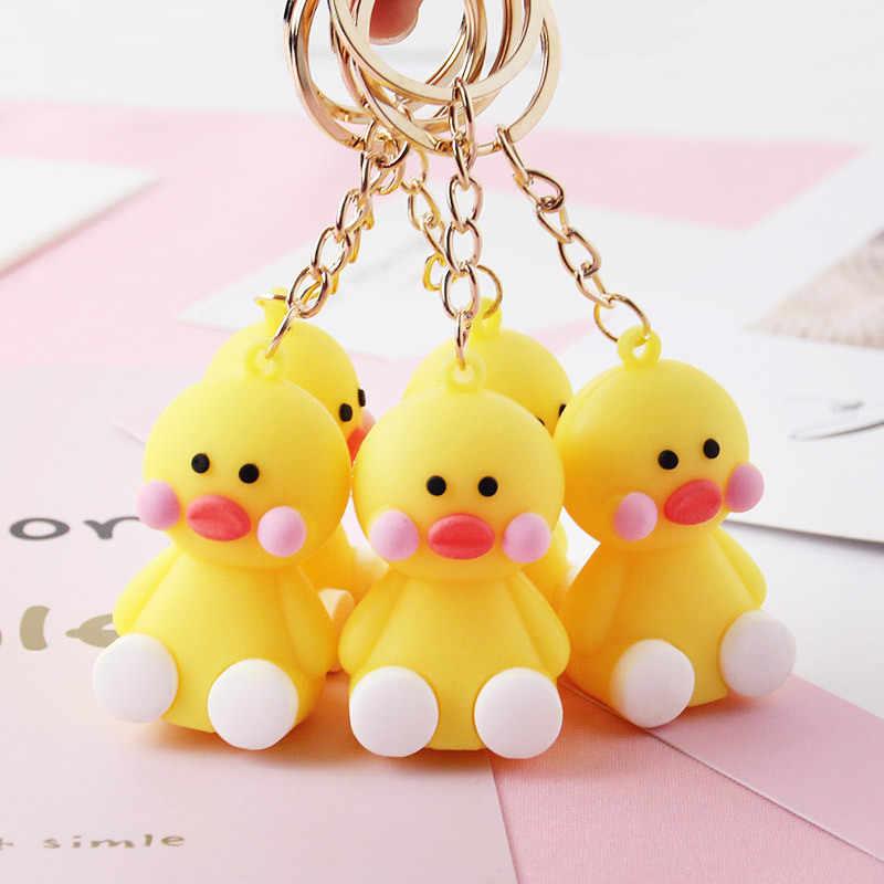 3 шт. креативная Милая Желтая Резиновая Утка Даки брелок кольцо для ключей для девочек фигурка игрушка