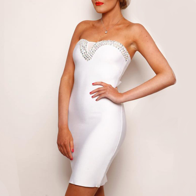 Beading Strapless Bandage Women Dress