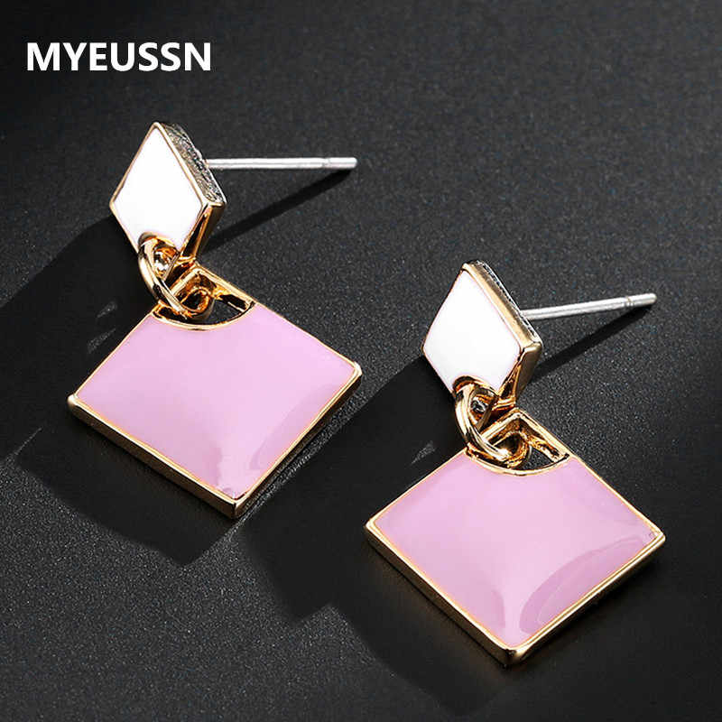 Women's fashion cute stud earrings casual versatile geometric square earrings shiny  alloy jewelry earrings drops