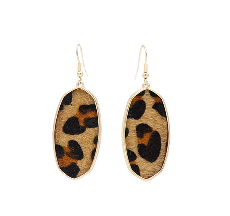 2018 New Fashion oval Leopard Grass weaving inlay alloy Drop Earrings for Women
