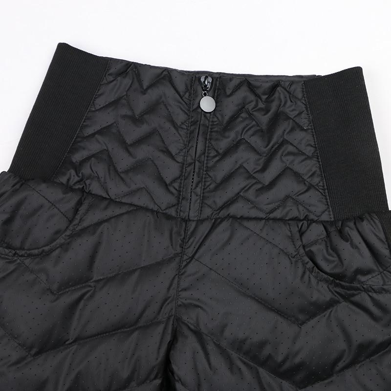 Damskie spodnie zimowe z wysokim stanem puch kaczy ciepłe dla pań - Ubrania Damskie - Zdjęcie 6