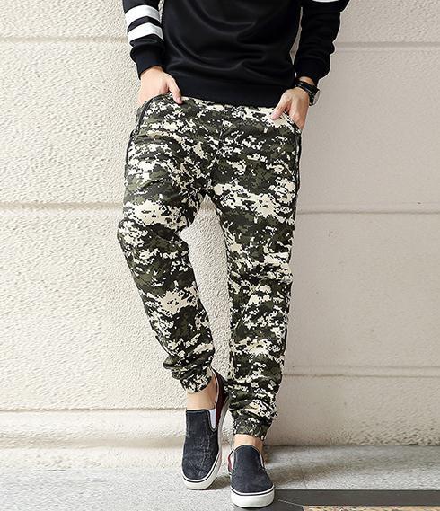 Cintura elástica outono lazer Harem calças tamanho grande soltas calças de camuflagem calças lápis calças de algodão stretch 8001