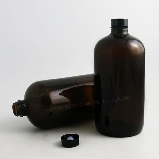 2PCS x 1000ML 33OZ Big Dark Amber Borosilicate Glass Standard Boston Round Bottle with Black Phenolic Closure PE Cone Lined Cap