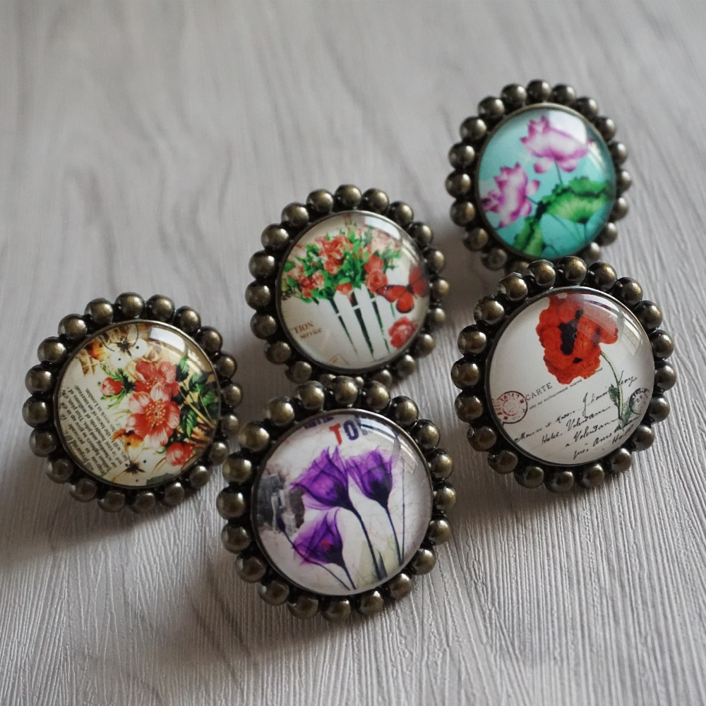 Flowers Knob Crystal Drawer Knobs Beauty Glass Dresser Knob Pulls Antique Bronze Kitchen Cabinet Knobs Pull Handle in Cabinet Pulls from Home Improvement