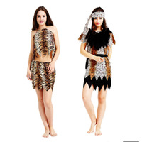 Leopard Women Man Caveman Costume Fancy Dress Cosplay Party Halloween