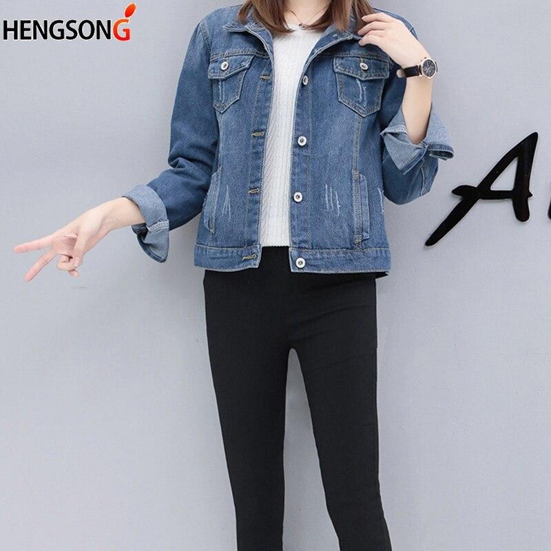 Basic Women Coat Denim Jacket Autumn Denim Jacket For Women Jeans Jacket Women Denim Coat Slim Fashion Plus Size Autumn Outwear