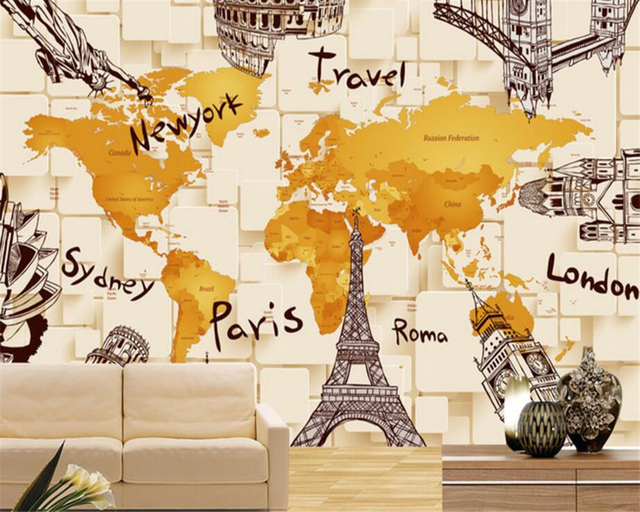Beibehang custom creative simple wallpaper 3d architecture beibehang custom creative simple wallpaper 3d architecture personality world map mural background wall wallpaper for walls gumiabroncs Images