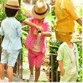 Envío Libre Al Por Menor Los Niños Que Arropan el Bebé Fija Corto ST057 la Edición de han Pantalones de Niño Traje Camisa de la Capa + Pantalones 2 unids Set Kids traje