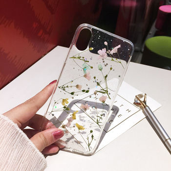 Qianliyao Real Dried Flower Cases For iPhone X XS Max XR 6 6S 7 8 Plus 11 Pro Max SE 2020 Case Handmade Soft Fresh Flower Cover 2