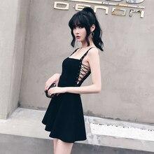 24d4e6aa24 Letnia Sukienka Kobiety Czarny Sexy Metal Hole Pasek Sznurowanie Boczne  Drążą Bandaże Linii Kobiet Sukienka Bez Rękawów