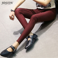 Spring And Autumn Tight Legging Women S Stripe Elastic Skinny Pants Plus Size High Waist Long