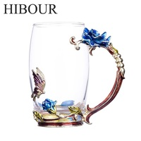 HIBOUR Blue Rose Enamel Glass Coffee Cup Mug With Creative Novelty Tea Glass Cups With Handgrip