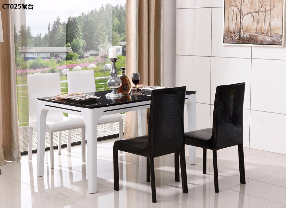XMCT025 Tempered glass surface, lacquered wood varnish wooden dining table modern dining room furniture ...
