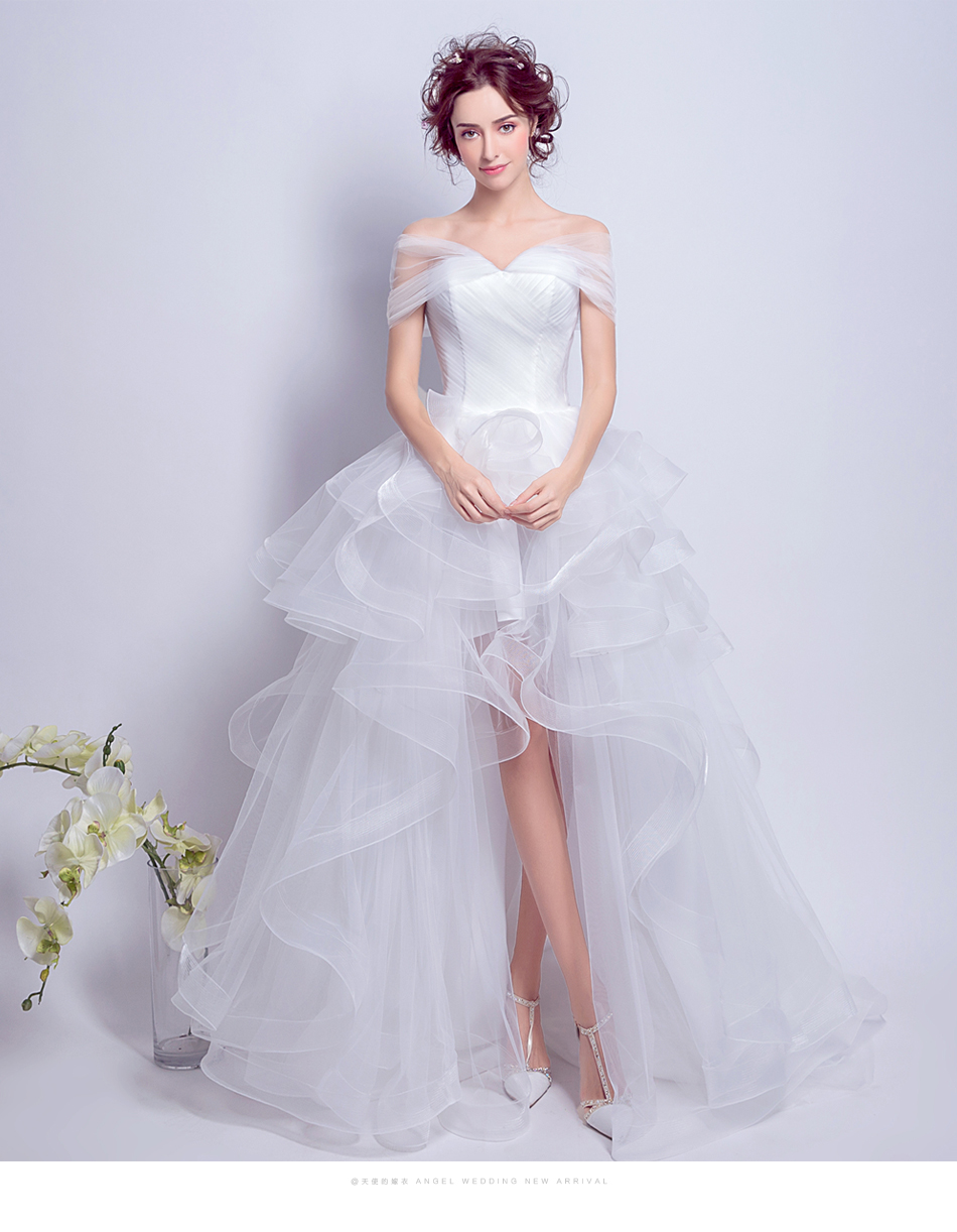 Angel Wedding Dress Marriage Evening Bride Party Prom Bridal Gown Vestido De Noiva 2017 Boat Neck asymmetrical7207 10