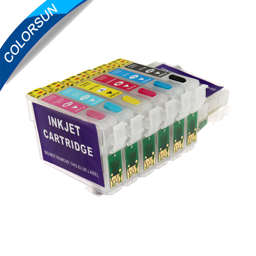 New T0981- T0986 Refillable Ink Cartridge For Epson Artisan 600/700/800/710/810/725/835/837/730 Printer With ChipsNew T0981- T0986 Refillable Ink Cartridge For Epson Artisan 600/700/800/710/810/725/835/837/730 Printer With Chips