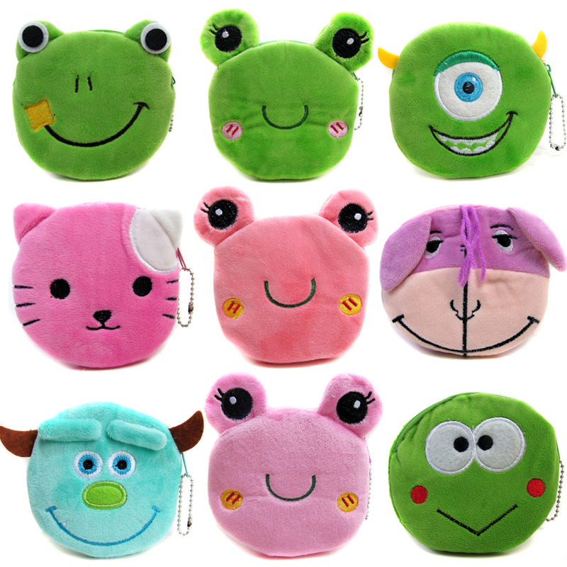 2017 Kids Gift Plush Frog Wallets Cartoon Women Coin Purses Mini Money Pouch Female Coin Storage Wallets Children Coin Bag 2017 hot sale character mini wallets kids plush bag women cartoon coin purses ladies zipper pouch