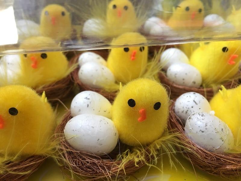 12pcs Mini Chicken Coop Easter Day Gift Velvet Chicks Yellow