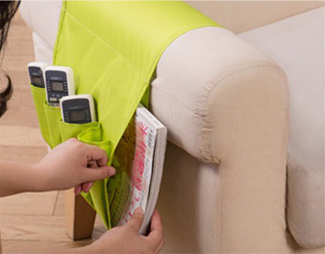 4 Pockets Sofa Arm Rest Remote Control Holder Table Bag TV Remote Control  Organizer For Cell