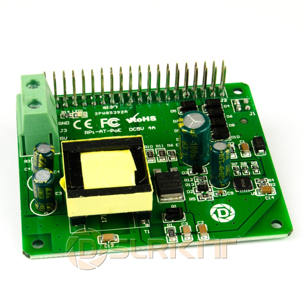DSLRKIT Framboise Pi 3B + 3B Plus Power Over Ethernet PoE CHAPEAU IEEE802.3at DC 5 V 4A PoE +