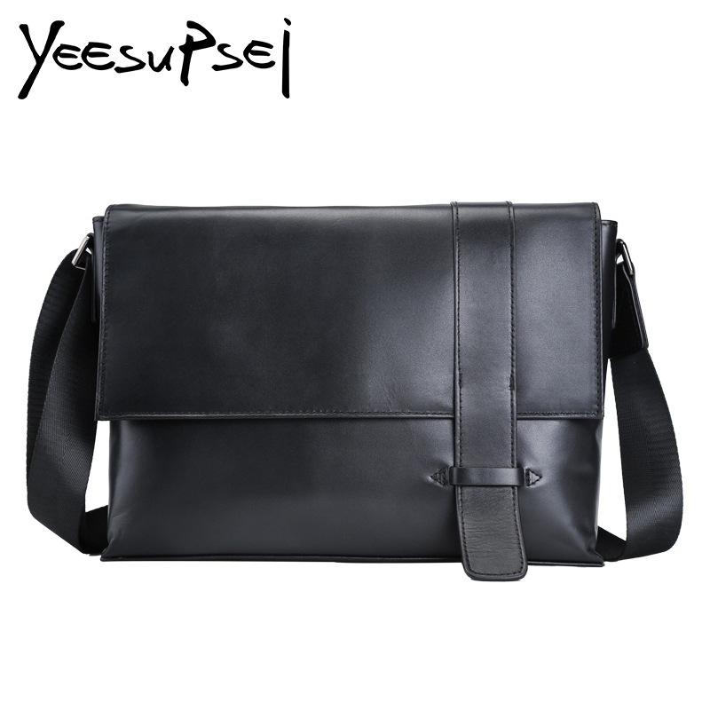 YeeSupSei Men Solid Black Causal Genuine Leather Crossbady Bag Men Messenger Male Designer Handbag High Quality Big Shoulder Bag