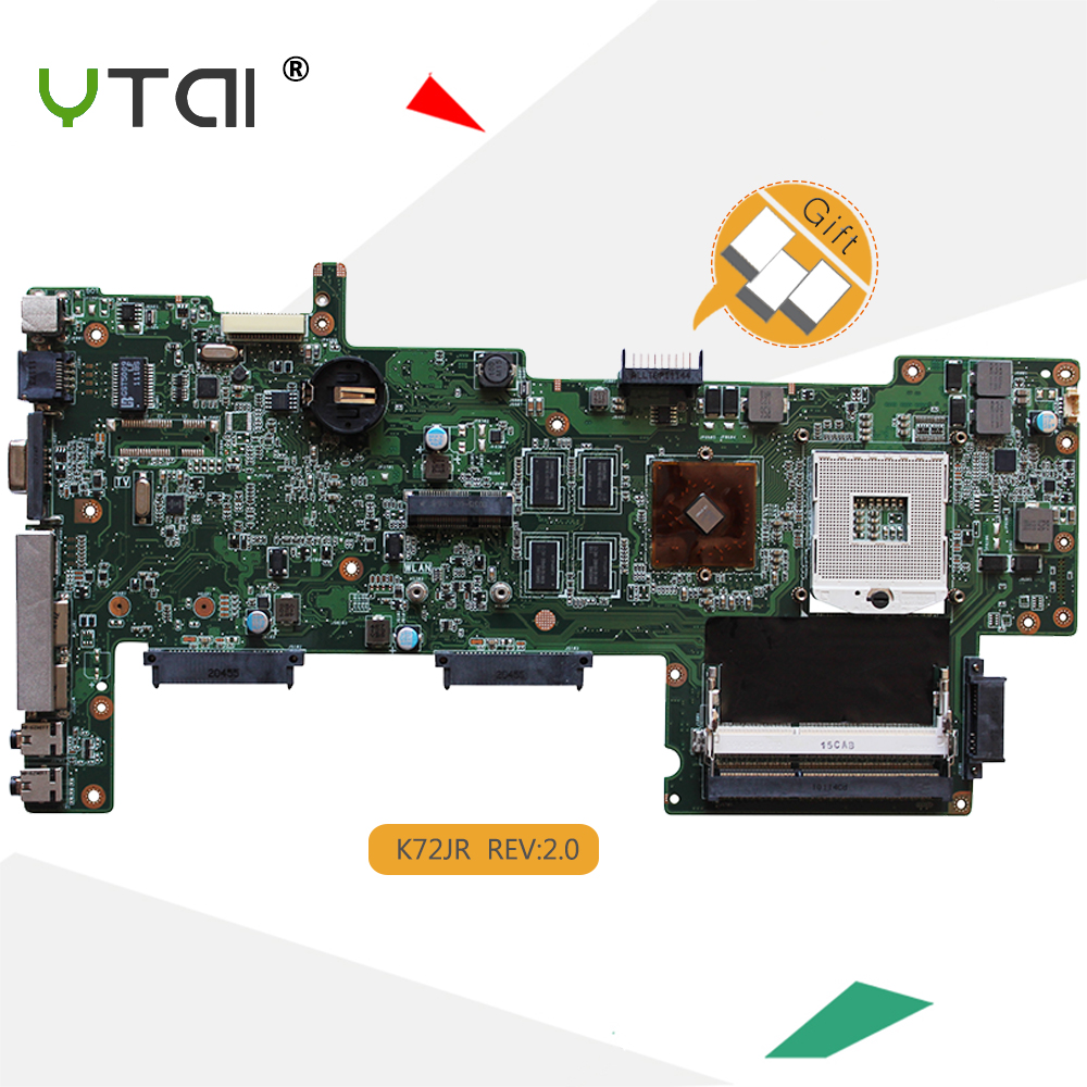 YTAI K72JR REV:2.0 motherboard for ASUS K72JU K72JK K72JT K72JR laptop motherboard 1G HM55 PGA989 mainboard 100% working k75de motherboard qml70 la8371p rev 1a mainboard hd 7670 1g socket fs1 100% test