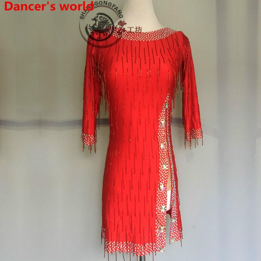 2017 Long Sleeves Fringe Skirt Women Back Opening Latin Tango Ballroom Salsa Dance Dress Party Costume Tassel women Dress