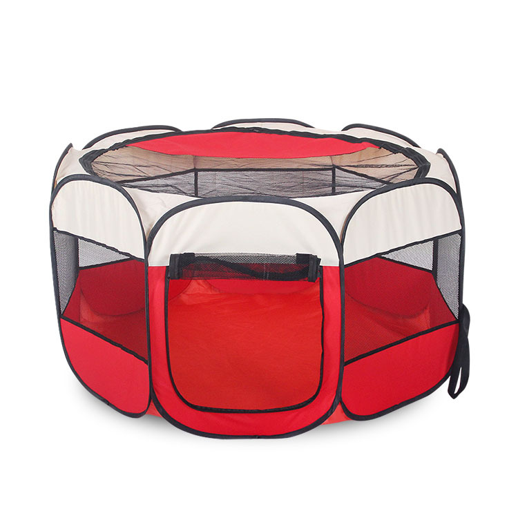 Drop Shipping Foldable Pet tent Dog House Cage Dog Cat Tent Playpen Puppy Kennel Octagonal Fence outdoor supplies pink Red Blue image
