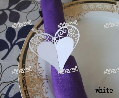 anillos de servilleta de papel del corazn del cordn wrap toalla clip de decoracin de la mesa para el banquete de boda decorac