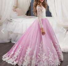 цена Elegant Lace O Neck Long Sleeves Flower Girl Dress First Communion purpleWhite Ivory Girls Children Gown Elegant Dresses